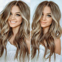 Stylish Women Ombre Brown Gold Blonde Full long Wavy Wig Curly Hair Cosplay Wigs