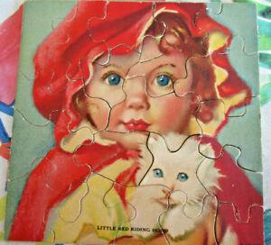 Vintage Trojan Midget PUzzles 6 Die-Cut Pictures Little Red Riding Hood, 1930's