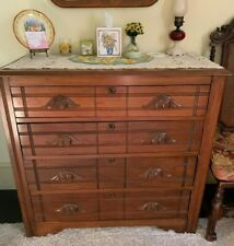 Oak dresser chest of drawers with carved wood handles