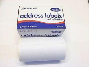 2 Qty X 250 Self Adhesive White address Labels  Roll Sticky Stick  County