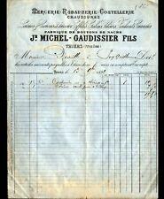 """THIERS (63) USINE de BOUTONS, MERCERIE COUTELLERIE """"MICHEL & GAUDISSIER"""" en 1892"""