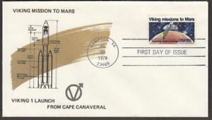 1978 Viking Mars Mission Sc 1759 FDC with Viking 1 launch vehicle diagram cachet