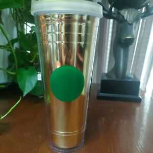STARBUCKS Gold Foil Green Dot Holiday Cold Coffee Cup Venti Tumbler 24 Oz