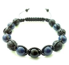 Men's stone beaded bracelet 10mm Onyx Lapis Lava gems bead shamballa wristband