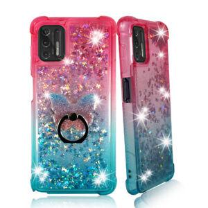 For Moto G Stylus 4G (2021) Liquid Glitter Bling TPU Bumper Case Phone Ring