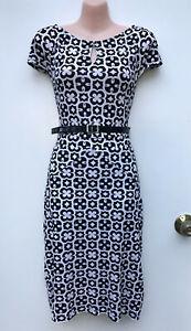 JANE LAMERTON Black & White Geometric Pattern Stretch Keyhole Belted Dress sz 12