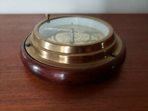 Antique Brass & Wood Nautical Maritime Desktop Compass
