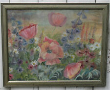 Vintage Oil on Board Painting Summer Garden Signed Mary Green Gilded Frame 20in