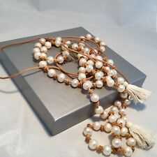 NEIMAN MARCUS Chan Luu White Pearls Necklace Natural Brown Leather, NWT $ 250