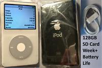 128GB iPod Classic Video 5th White + Wolfson DAC SD Card Refurbished SSD 120GB