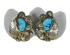 Antique RH Native American Sterling Silver Turquoise Clip On Earrings