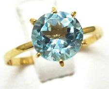 SYJEWELLERY 9CT YELLOW GOLD SOLITAIRE NATURAL BLUE TOPAZ RING  SIZE N   R1435