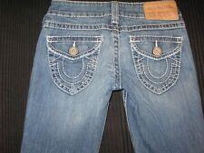 True Religion Jeans Womens Billy Natural Big T Straight Leg Flap Pocs Sz 26