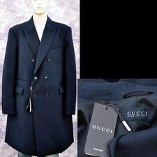 GUCCI New sz 58 - 48 R Authentic Mens Designer Wool Jacket Coat Overcoat Navy