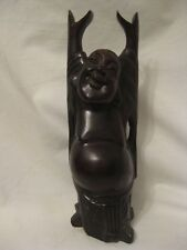 """wood Buddha sculpture raised hands carved wooden smiling figure 9"""""""