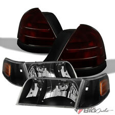 For 99-11 Crown Victoria Black Headlights + Tinted Smoke Red Tail Lights Combo