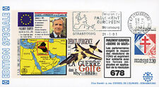 "IK8-T2 FDC European Parliament ""GULF WAR / Mr. Jacques POOS, Luxembourg"" 01-1991"