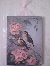 Vintage Birds & Pink Roses Postcard Glitter Plaque NEW