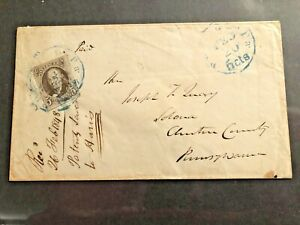 SC#1 5-CENT FRANKLIN 1847 ON COVER TO PA.FOUR MARGINS(RED BROWN PHILA,PA CDS PF