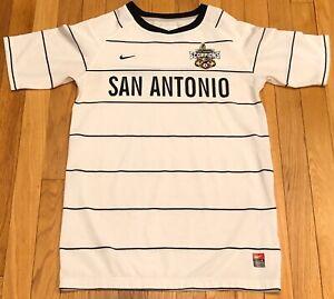 Nike San Antonio Scorpions Soccer Jersey Youth LARGE Dri Fit Striped FREE SHIP