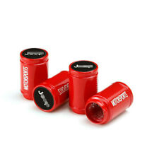4x Glossy Red Car Wheel Tire Air Valve Caps Tyre Stems Dust Cover Logo