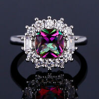 Vintage 925 Silver Ruby Topaz Gemstone Wedding Rings Women Gift Wholesale 6-10