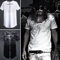 ByTheR Men's 100% Cotton Black Paint Custom Shoulder Loose Crew Neck T-shirt UK