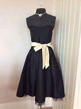 Oasis Sin Tirantes Negro 1950s Vintage Té Swing Vestido para Baile de Graduación Talla 10 Seda Marfil fajín