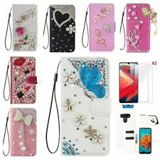 for Cricket influence/Ovation/Icon 2/Coolpad Legacy Sr Bling leather Women Cases