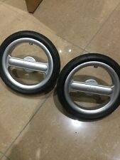 Pair of Silver Cross Surf Pram Rear Back Wheels Tyre Axle x 2