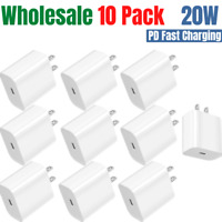 20W 10 Pack PD USB-C To iPhone Fast Wall Charger Power Adapter For Apple Sumsang