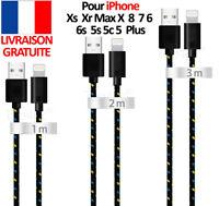 CABLE USB CHARGEUR POUR IPHONE 7 6S 6 5S 5C SE PLUS 1m 2m 3m RENFORCÉ DATA SYNC