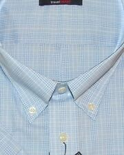 Roundtree Mens SS Lt Blue White Plaid Easy Care Shirt 2X NWT