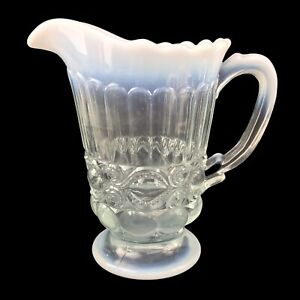 Vintage White Opalescent Glass Pitcher Mosser Eye-Winker Pattern Anthropologie 8