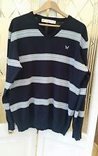 Crew Clothing Blue Striped Mens Jumper Size Medium Large - Cotton - VGC