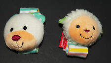 Infantino Wrist Rattles Lamb & Bear Plush Baby Infant Toys Farm Animals Sheep