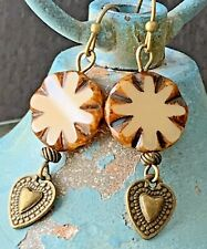 Ivory Picasso Opaque Czech Beads Bronze Heart Earrings with Rustic