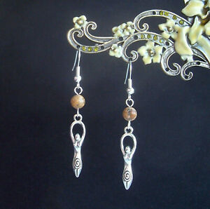 Earth Mother Goddess Brown Picture Jasper Drop Earrings - Pagan Celt