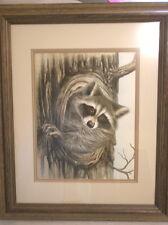 Jim Wilson (Virginia) Original Watercolor of Raccoon 1981, framed/glazed