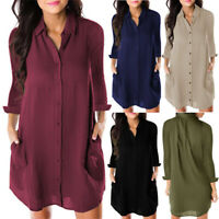 Womens V Neck Long Sleeve Blouse Button Down Top Loose Baggy Casual Shirt Dress
