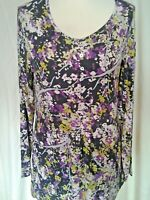Adini 95%Viscose/5%Lycra Tunic long sleeves scoop neck front detail printed