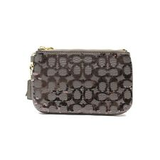 NWT Coach Poppy Signature C Sequin Small Wristlet Gray 50481