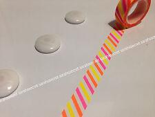 Japanese Washi Tape 15mmx10m Diagonal Neon Colour Yellow Orange Yellow #W2353