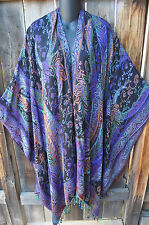 ART TO WEAR COLORFUL WOVEN PAISLEY REVERSIBLE RUANA SHAWL WRAP BY ANU, OS+!