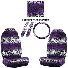 5PC Universal-fit Steering Wheel and Seat Covers Set - Leopard Print - Purple