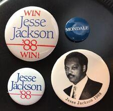 VINTAGE 4 JESSE JACKSON POLITICAL CAMPAIGN BUTTONS ~ MONDALE 1988