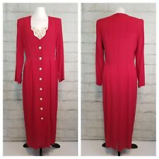 Vtg Brioche California 9/10 Red Button Front Crinkle Dress Removable Fooler Cami