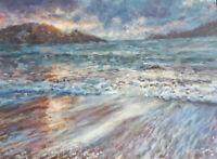GERRY MILLER-Acryl Bild auf Papier.Meer/Strand (Unikat) 24x32cm.Ohne Rahmen