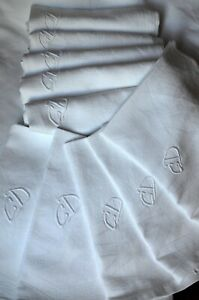 Damask weave table cloth and 12 matching napkins, GD monograms