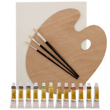 US Art Supply 17 Piece Oil Painting Set Canvas, Brushes, 12 Color Paint